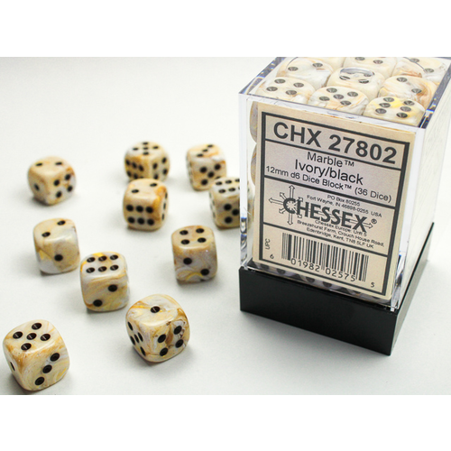 Chessex DICE SET 12mm MARBLE IVORY-BLACK