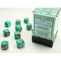 DICE SET 12mm MARBLE OXI-COPPER