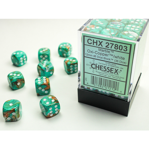 Chessex DICE SET 12mm MARBLE OXI-COPPER with WHITE