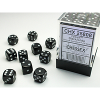 DICE SET 12mm OPAQUE BLACK-WHITE