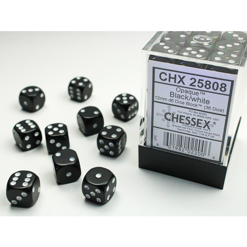 Chessex DICE SET 12mm OPAQUE BLACK-WHITE