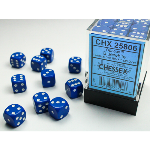 Chessex DICE SET 12mm OPAQUE BLUE-WHITE