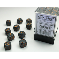 DICE SET 12mm OPAQUE DARK GREY-COPPER
