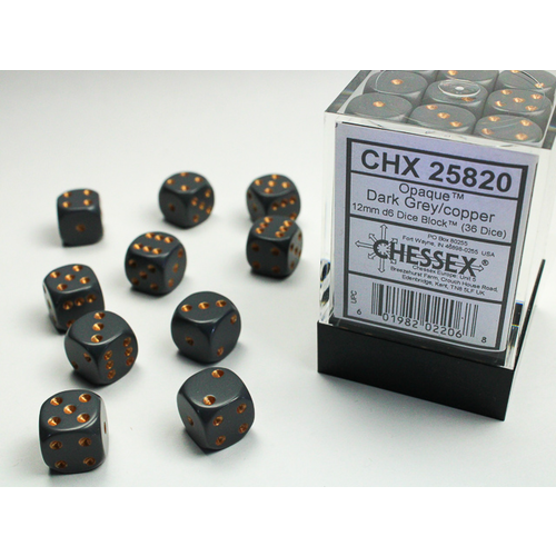 Chessex DICE SET 12mm OPAQUE DARK GREY-COPPER