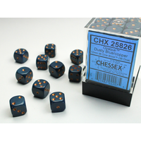 DICE SET 12mm OPAQUE DUSTY BLUE-COPPER