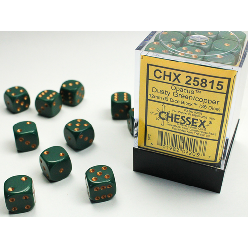 Chessex DICE SET 12mm OPAQUE DUSTY GREEN-COPPER