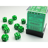 DICE SET 12mm OPAQUE GREEN-WHITE