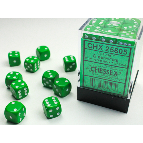Chessex DICE SET 12mm OPAQUE GREEN-WHITE