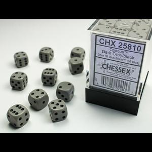 Chessex DICE SET 12mm OPAQUE DARK GREY-BLACK