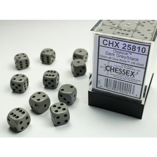 Chessex DICE SET 12mm OPAQUE DARK GREY-BLACK