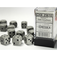 DICE SET 16mm OPAQUE DARK GREY