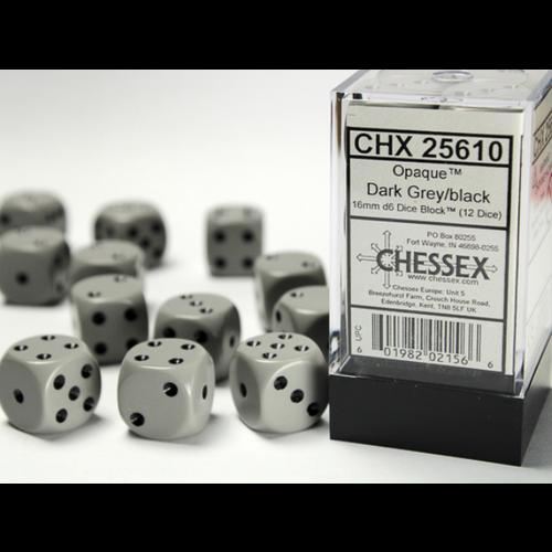 Chessex DICE SET 16mm OPAQUE DARK GREY-BLACK