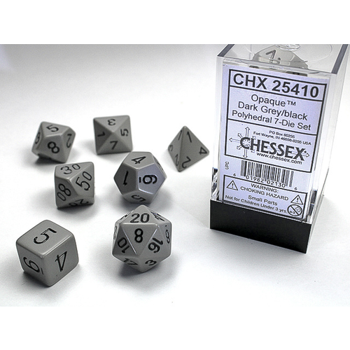 Chessex DICE SET 7 OPAQUE DARK GREY-BLACK