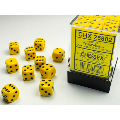 Chessex DICE SET 12mm OPAQUE YELLOW-BLACK