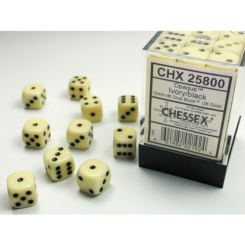 Chessex DICE SET 12mm OPAQUE IVORY-BLACK
