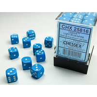 DICE SET 12mm OPAQUE LIGHT BLUE-WHITE