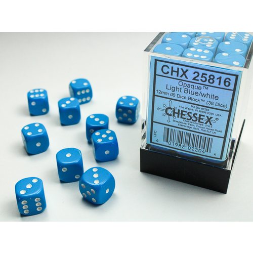 Chessex DICE SET 12mm OPAQUE LIGHT BLUE-WHITE