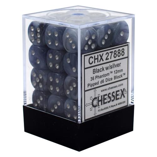 Chessex DICE SET 12mm PHANTOM BLACK-SILVER - Discontinued