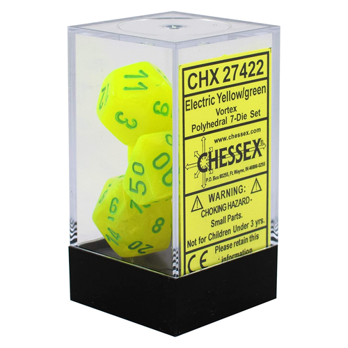 Chessex DICE SET 7 VORTEX ELECTRIC YELLOW-GREEN