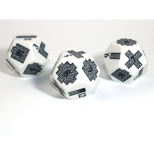 Chessex CUSTOM D12 20mm DUNGEONEERING WHITE-BLACK