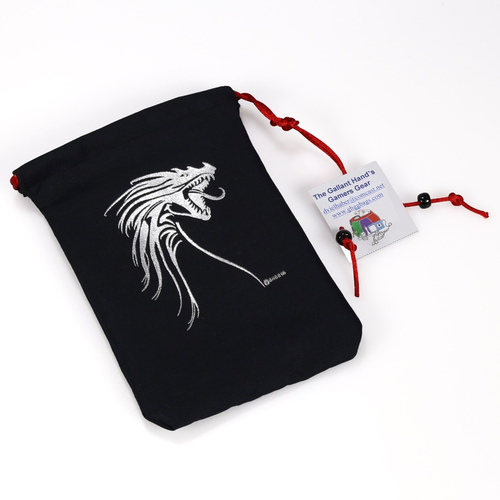 Gallant Hand's Gamers Gear DICE BAG: SILVER TRIBAL DRAGON