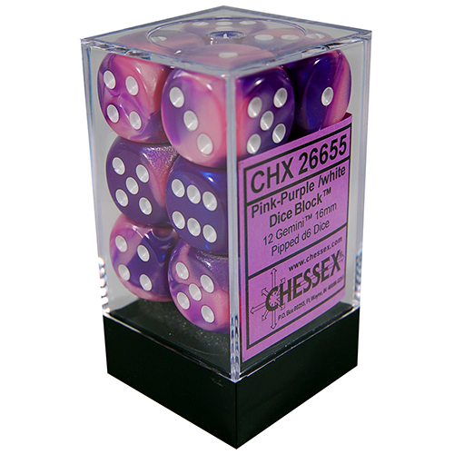 Chessex DICE SET 16mm FESTIVE: VIOLET-WHITE
