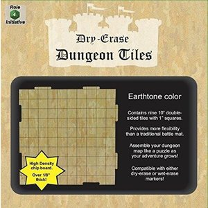 """Role 4 Initiative DRY ERASE DUNGEON TILES: 10"""" EARTHTONE PACK"""