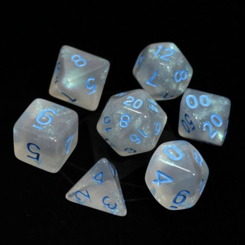 Die Hard Dice GLACIAL DICE SET 7 MOONSTONE BLUE