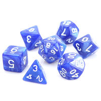 SWIRL DICE SET 7 BLUE w/WHITE