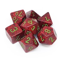 DICE SET 7 SPECKLED: STRAWBERRY