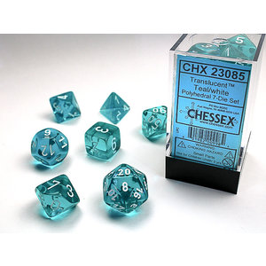 Chessex DICE SET 7 TRANSLUCENT: TEAL (REVISED)