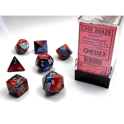 Chessex DICE SET 7 GEMINI BLUE-RED
