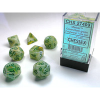 DICE SET 7 MARBLE GREEN