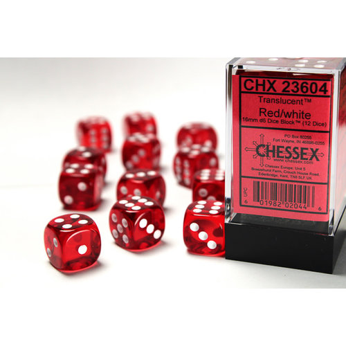 Chessex DICE SET 16mm TRANSLUCENT RED