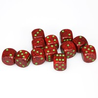 DICE SET 16mm SPECKLED STRAWBERRY