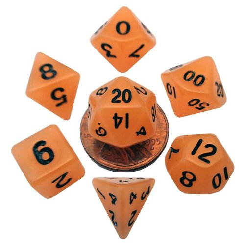 Metallic Dice Company DICE SET 7 MINI: GLOW-IN-THE-DARK ORANGE