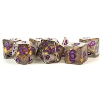 DICE SET 7 FOIL: GREY / GOLD
