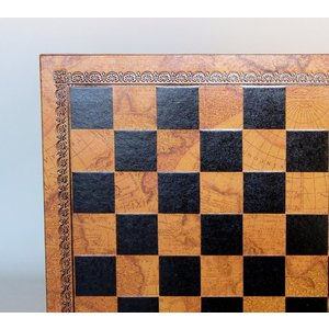 "Worldwise Imports CHESS BOARD 13"" FAUX LEATHER & WOOD"