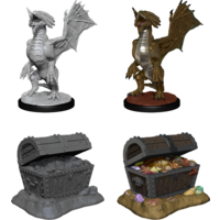 MINIS: D&D: BRONZE DRAGON WYRMLING & PILE OF SEA FOUND TREASURE