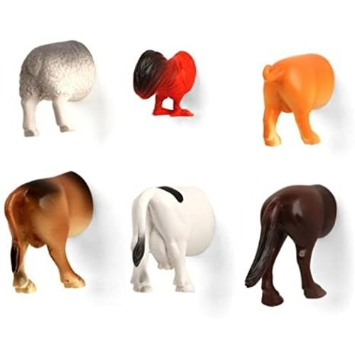Kikkerland MAGNET FARM ANIMAL BUTTS (6)