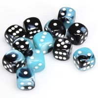 DICE SET 16mm GEMINI BLACK-SHELL