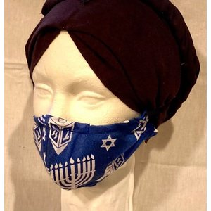 OTHER TIMES PRODUCTIONS PROTECTIVE MASK, FABRIC - HANUKKAH (Pattern 2 White)