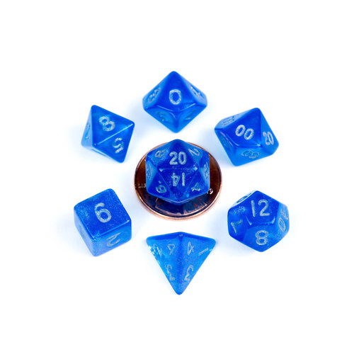 Metallic Dice Company DICE SET 7 MINI STARDUST: BLUE