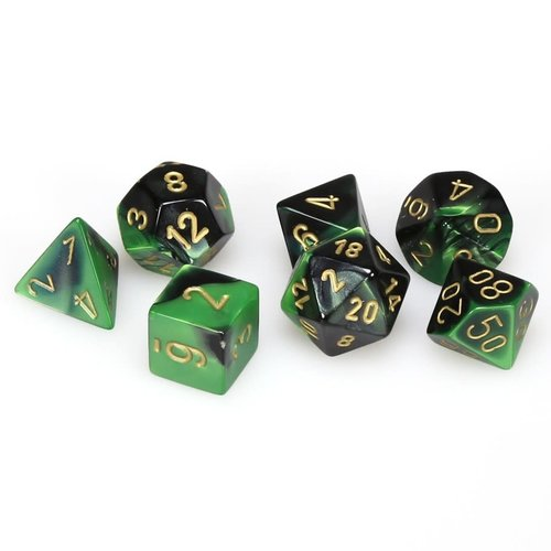 Chessex DICE SET 7 GEMINI: BLACK / GREEN