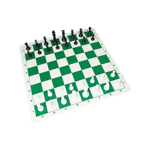 "JOHN HANSEN COMPANY CHESS SET 3.75"" TOURNAMENT on 20"" SILICONE BOARD w/ 2.25"" SQUARES"