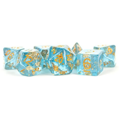 Metallic Dice Company DICE SET 7 FOIL: BLUE / GOLD