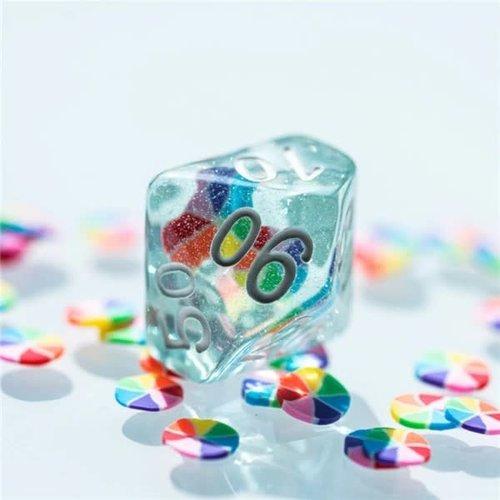 Foam Brain Games DICE SET 7 RAINBOW PINWHEEL