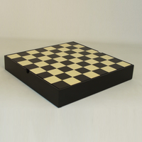 "CHESS BOARD 13.25"" BLACK & MAPLE CHEST w/ 1.5"" SQ"
