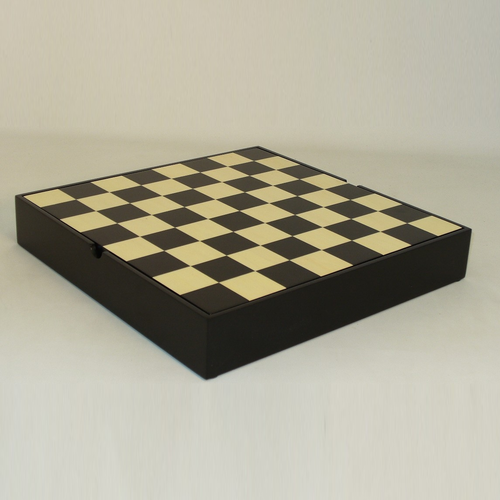 "Worldwise Imports CHESS BOARD 13.25"" BLACK & MAPLE VENEER CHEST w/ 1.5"" SQUARES"
