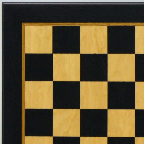 """Worldwise Imports CHESS BOARD 17.25"""" BLACK & MADRONA BURL GLOSSY w/ 1.75"""" SQUARES"""